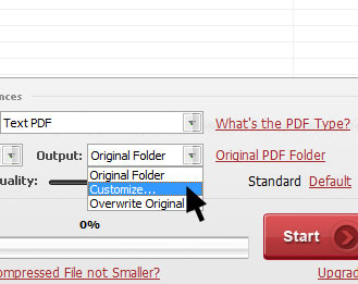Choose output type for compressed PDF files